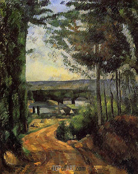 Road, Trees and Lake, c.1879/82 | Cezanne | Gemälde Reproduktion