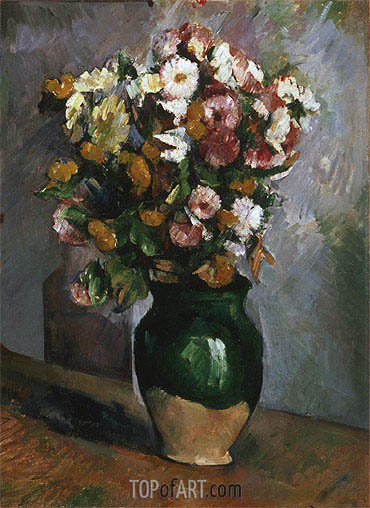 Flowers in an Olive Jar, c.1880 | Cezanne | Painting Reproduction