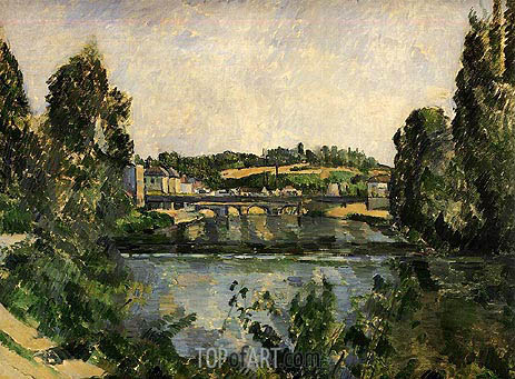 The Bridge and Waterfall at Pontoise, 1881 | Cezanne | Painting Reproduction