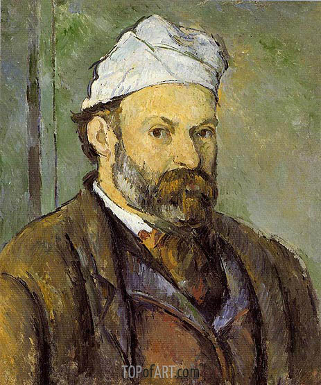 Self Portrait in a White Cap, c.1881/82 | Cezanne| Painting Reproduction