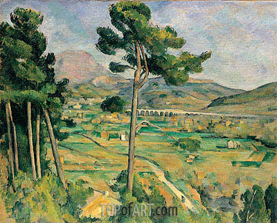 Mont Sainte-Victoire and the Viaduct of the Arc River Valley, c.1882/85 | Cezanne | Gemälde Reproduktion