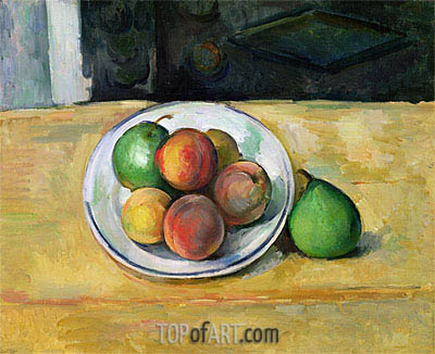 Strill Life with Peaches and Two Green Pears, c.1883/87 | Cezanne | Painting Reproduction