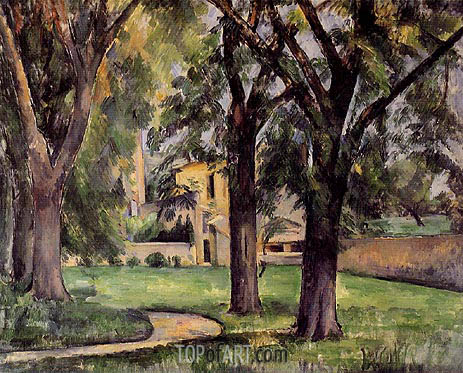 Chestnut Tree and Farm at Jas du Bouffan, c.1885 | Cezanne | Gemälde Reproduktion