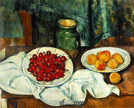 Still Life with Cherries and Peaches, c.1885/87 | Cezanne | Painting Reproduction