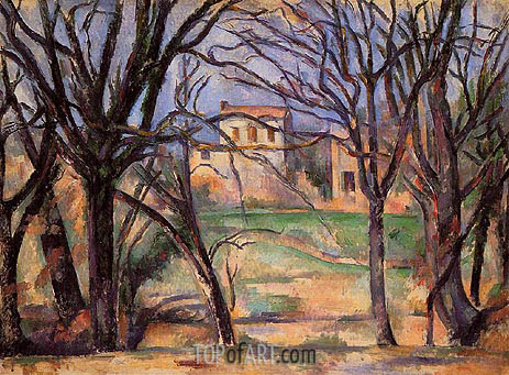 Trees and Houses, c.1885 | Cezanne | Painting Reproduction