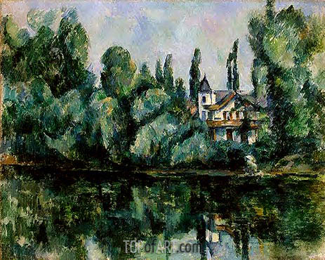 Banks of the Marne (Villa on the Bank of a River), c.1888 | Cezanne | Painting Reproduction