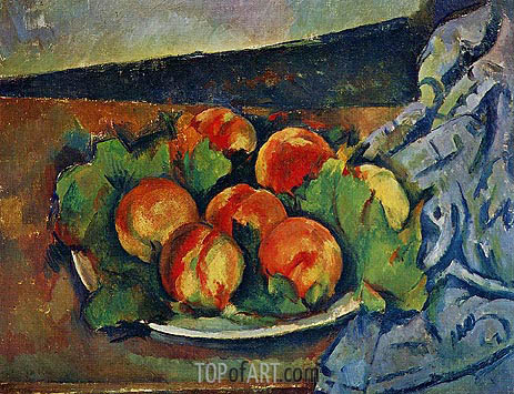 Dish of Peaches, c.1892 | Cezanne | Painting Reproduction