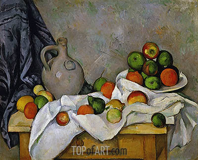 Curtain, Jug and Fruit Bowl, c.1893/94 | Cezanne | Painting Reproduction