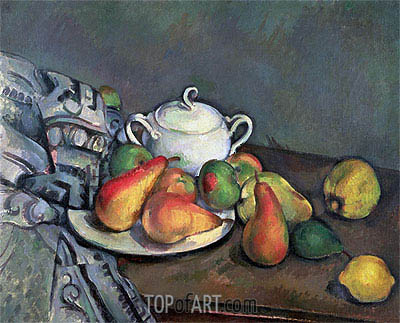 Sugarbowl, Pears and Tablecloth, c.1893/94 | Cezanne | Painting Reproduction