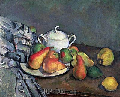 Cezanne | Zuckerdose, Birnen und Teppiche, c.1893/94