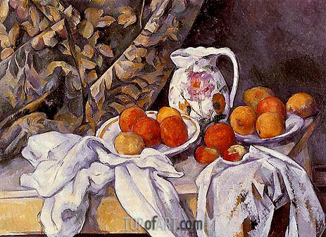 Still Life with Curtain and Flowered Pitcher, c.1894/95 | Cezanne| Painting Reproduction