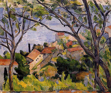 L'Estaque, View through the Trees, c.1878/79 | Cezanne | Painting Reproduction