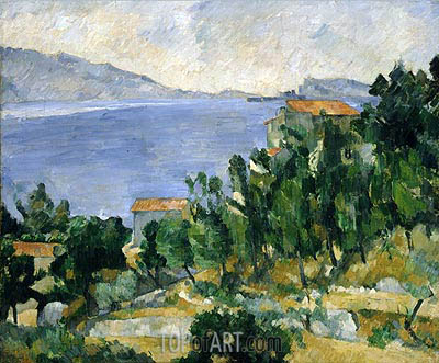 View of Mount Mareseilleveyre and the Isle of Maire, c.1878/82 | Cezanne| Gemälde Reproduktion
