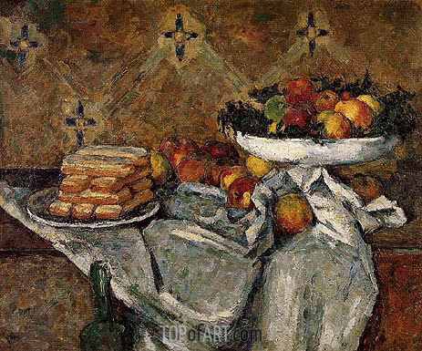 Compotier and Plate of Biscuits, c.1877 | Cezanne | Painting Reproduction