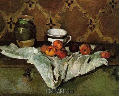 Still Life with Jar, Cup, and Apples, c.1877 | Cezanne | Painting Reproduction