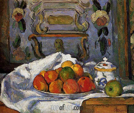Dish of Apples, c.1875/77 | Cezanne | Painting Reproduction