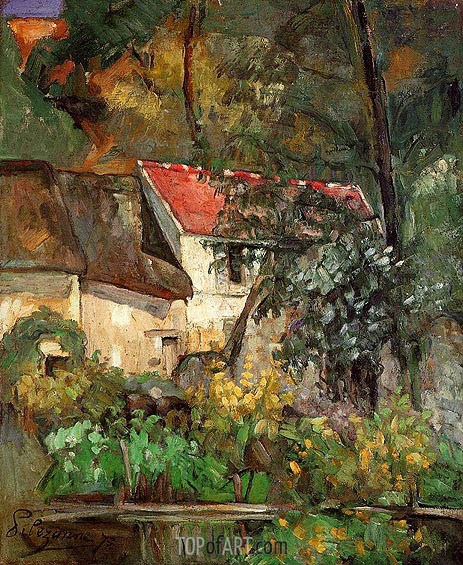 The House of Pere Lacroix in Auvers, 1873 | Cezanne| Gemälde Reproduktion