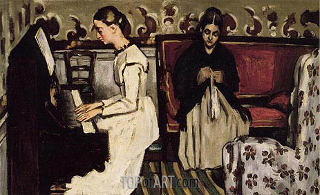 Girl at the Piano (The Overture to Tannhauser), c.1868 | Cezanne| Gemälde Reproduktion