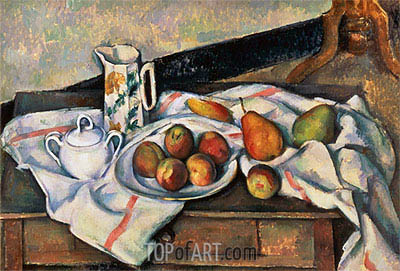 Peaches and Pears, c.1888/90 | Cezanne| Gemälde Reproduktion
