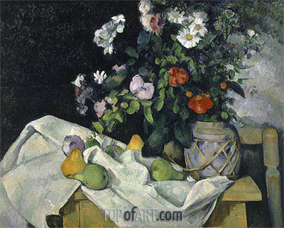 Still Life with Flowers and Fruit, c.1890 | Cezanne | Painting Reproduction