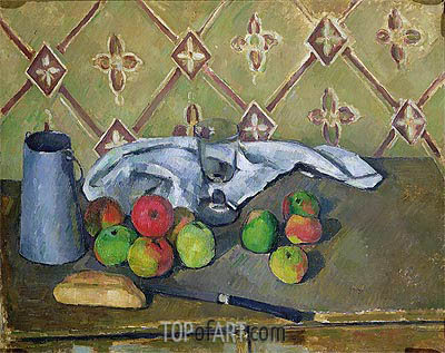 Fruit, Serviette and Milk Jug, c.1879/82 | Cezanne | Painting Reproduction