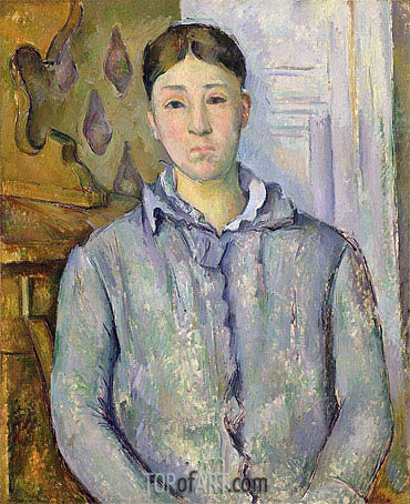Madame Cezanne in Blue, c.1888/90 | Cezanne| Painting Reproduction