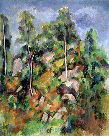 Rocks and Trees in Provence, c.1900 | Cezanne| Gemälde Reproduktion