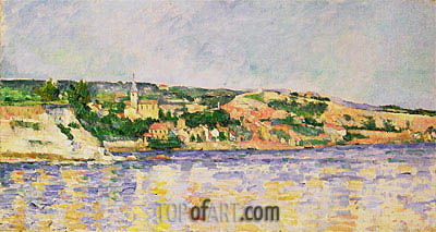 River and Hills, c.1875 | Cezanne| Painting Reproduction