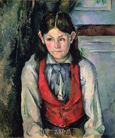 Boy in a Red Vest (Garcon au Gilet Rouge), c.1888-90 | Cezanne| Gemälde Reproduktion