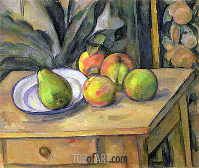 Fruit and Tapestry, undated | Cezanne| Gemälde Reproduktion