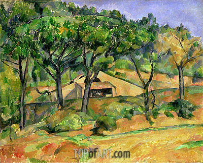 House on a Hillside, undated | Cezanne | Painting Reproduction