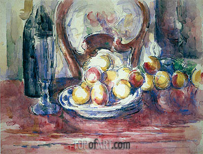Still Life with Apples, Bottle and Chairback, undated | Cezanne| Painting Reproduction