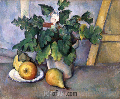 Pot of Flowers and Pears, c.1888/90 | Cezanne| Painting Reproduction