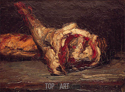 Still Life of a Leg of Mutton and Bread, 1865 | Cezanne | Painting Reproduction