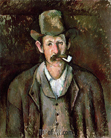 Man with a Pipe, c.1892/95 | Cezanne | Gemälde Reproduktion