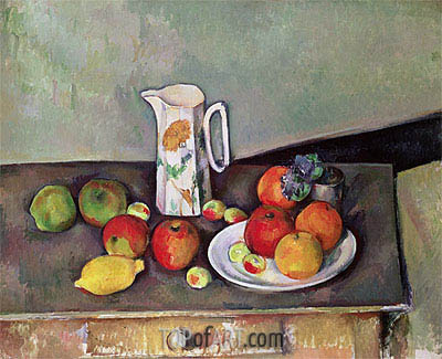 Still Life with Milkjug and Fruit, c.1886/90 | Cezanne | Gemälde Reproduktion