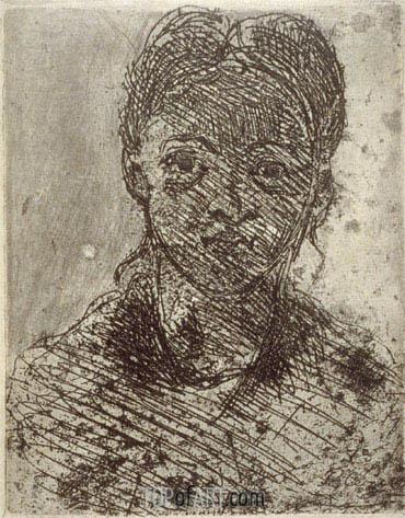 Tete de Femme, 1873 | Cezanne | Painting Reproduction