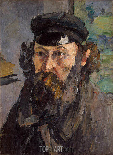 Self-Portrait in a Casquette, c.1872 | Cezanne | Painting Reproduction