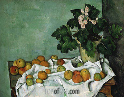 Still Life with Apples and a Pot of Primroses, c.1890 | Cezanne | Gemälde Reproduktion