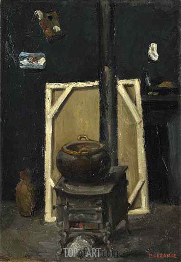 The Stove in the Studio, c.1865 | Cezanne | Gemälde Reproduktion