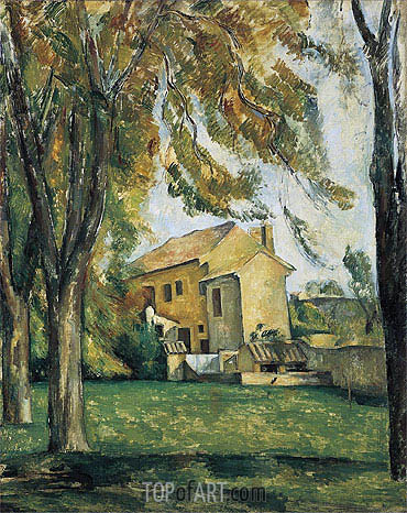 Farmhouse and Chestnut Trees at Jas-de-Bouffan, c.1885/87 | Cezanne | Painting Reproduction
