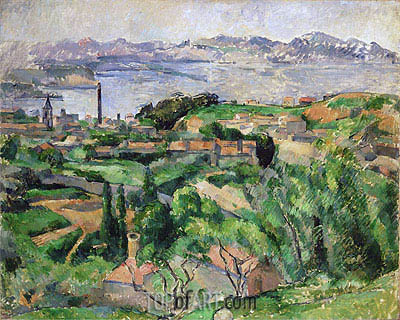View of the Bay of Marseille with the Village of Saint-Henri, c.1883 | Cezanne | Painting Reproduction