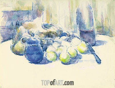 Still Life with Pears and Apples, Covered Blue Jar and a Bottle of Wine, undated | Cezanne | Painting Reproduction