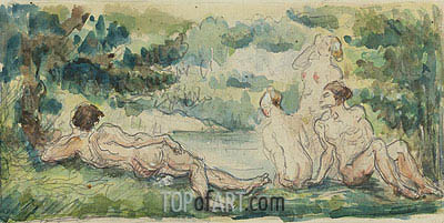Bathers, c.1870/75 | Cezanne| Painting Reproduction