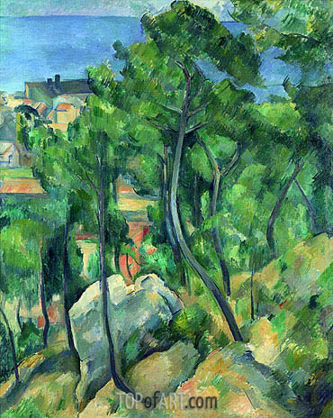 L'Estaque: Rocks, Pines, and Sea, c.1883/85 | Cezanne| Painting Reproduction