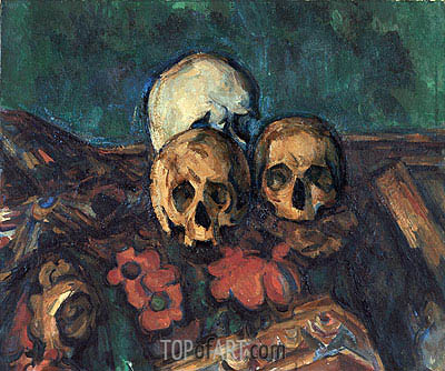 Three Skulls on an Oriental Rug, 1904 | Cezanne| Painting Reproduction