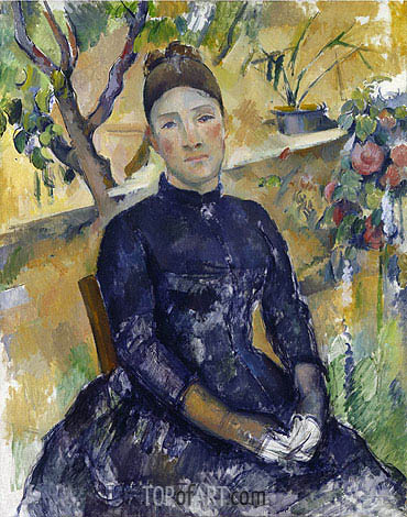 Madame Cezanne in the Conservatory, c.1891/92 | Cezanne | Gemälde Reproduktion