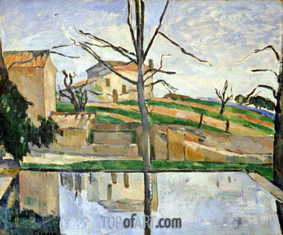 The Basin of the Jas de Bouffan in Winter, c.1878 | Cezanne | Painting Reproduction