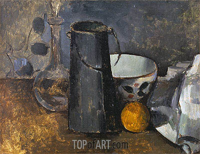 Still Life with Carafe, Milk Can, Coffee Bowl and Orange, c.1879/82 | Cezanne | Painting Reproduction