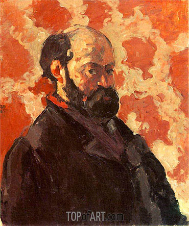 Self-Portrait with Rose Background, c.1875 | Cezanne | Painting Reproduction